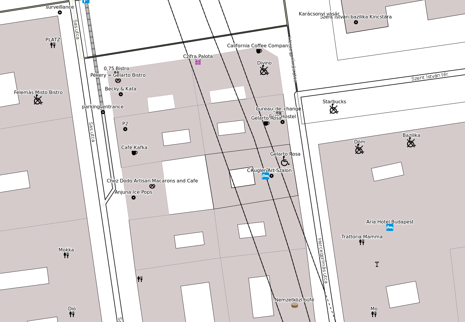 Map part, shows POIs with wheelchair accessibility icons.